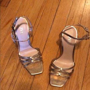 zara gold short heels Never worn